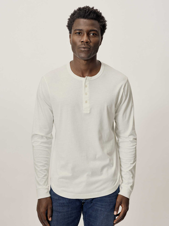 Natural Pima Curved Hem Henley