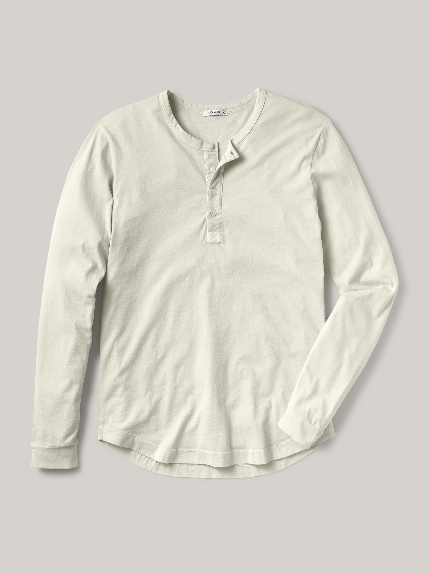 Buck Mason - Natural Pima Curved Hem Henley