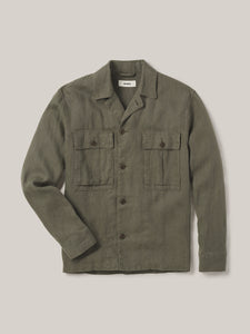 Sage Loomed Linen Fatigue Shirt
