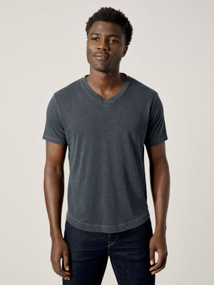 Dark Navy Venice Wash Slub Curved Hem V-Neck Tee