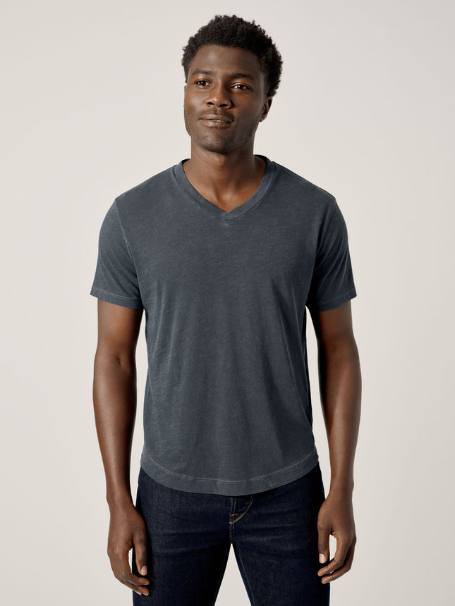 Dark Navy Venice Wash Slub Curved Hem V-Neck
