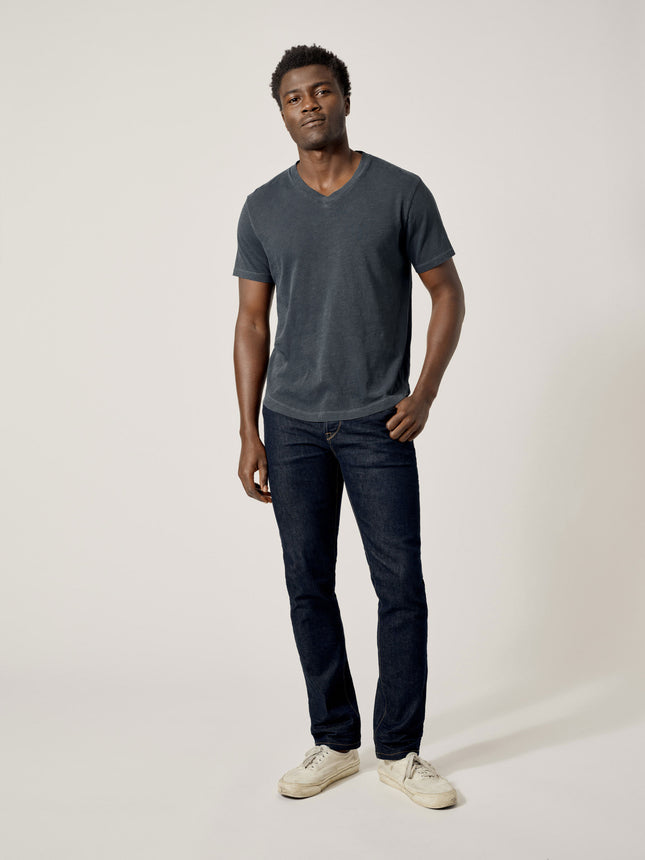 Buck Mason - Dark Navy Venice Wash Slub Curved Hem V-Neck