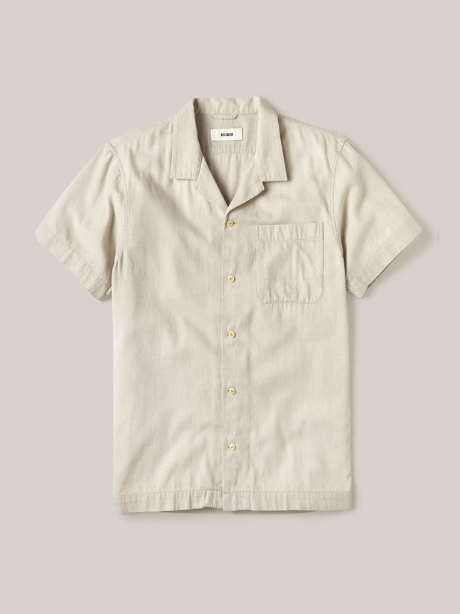 Bone Palm Cotton Short Sleeve Vintage Camp Shirt