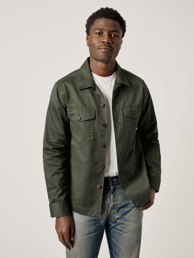 Dark Olive Cotton Sateen Alfa Military Shirt