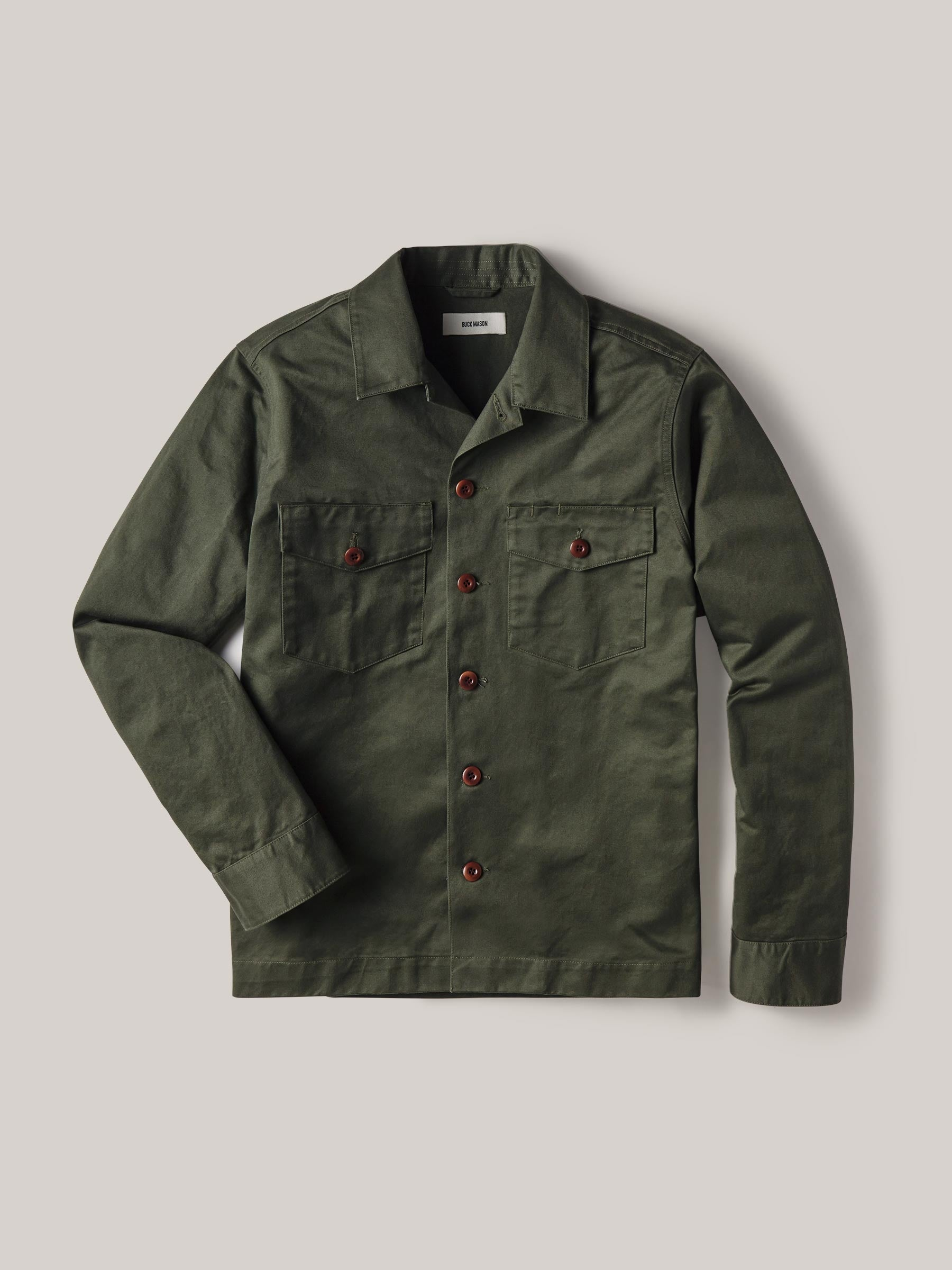 Buck Mason - Dark Olive Cotton Sateen Alfa Military Shirt
