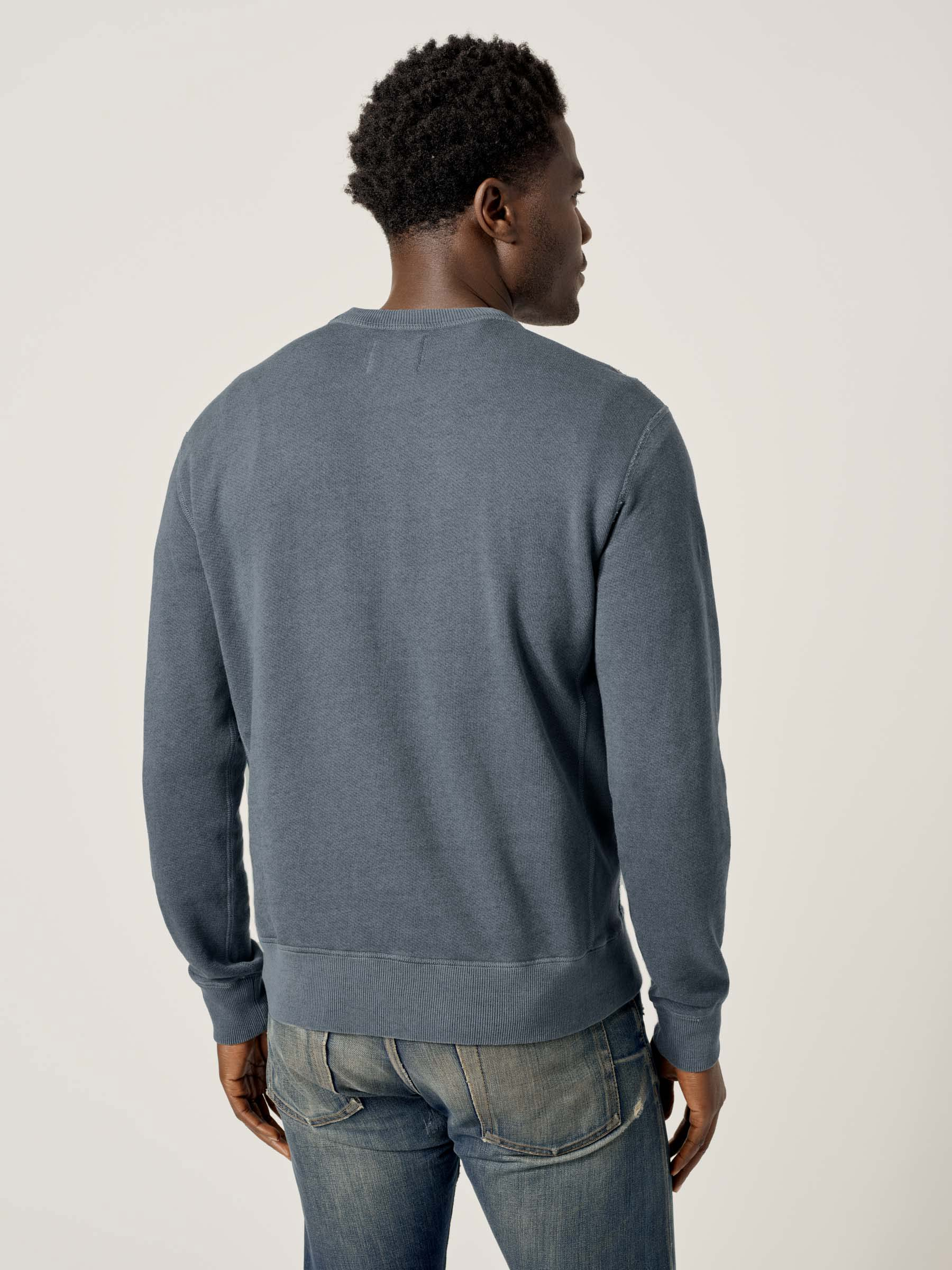 Buck Mason - Faded Blue Venice Wash Heathered Twill Terry Vintage Crew