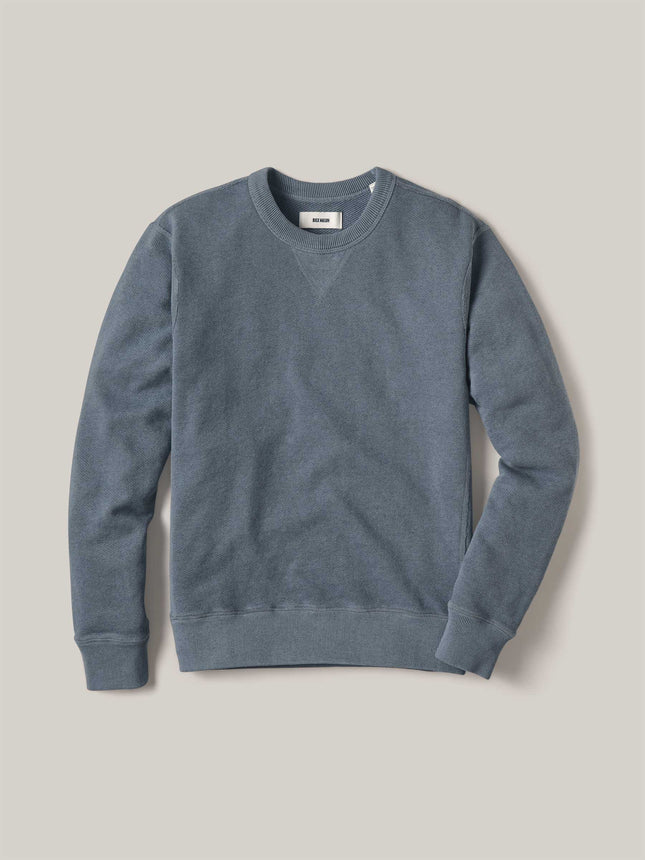 Faded Blue Venice Wash Heathered Twill Terry Vintage Crew