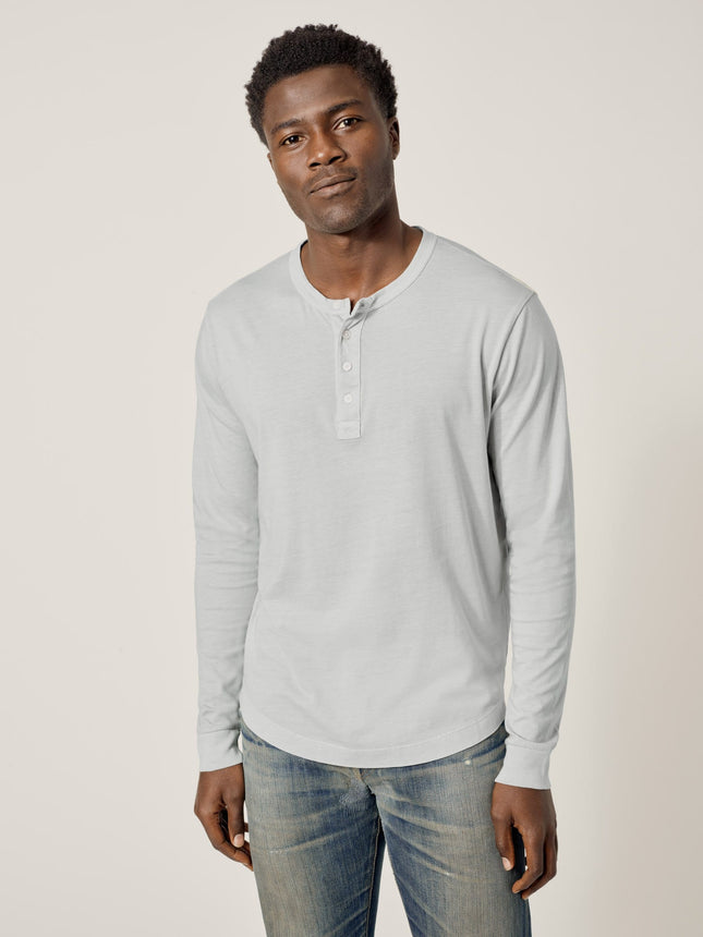 Salt Gray Venice Wash Pima Curved Hem Henley