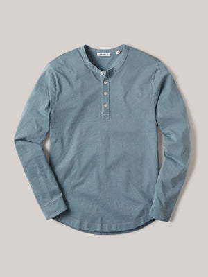 Steel Blue Venice Wash Pima Curved Hem Henley