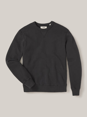 Coal Sunfade Heathered Twill Terry Vintage Crew