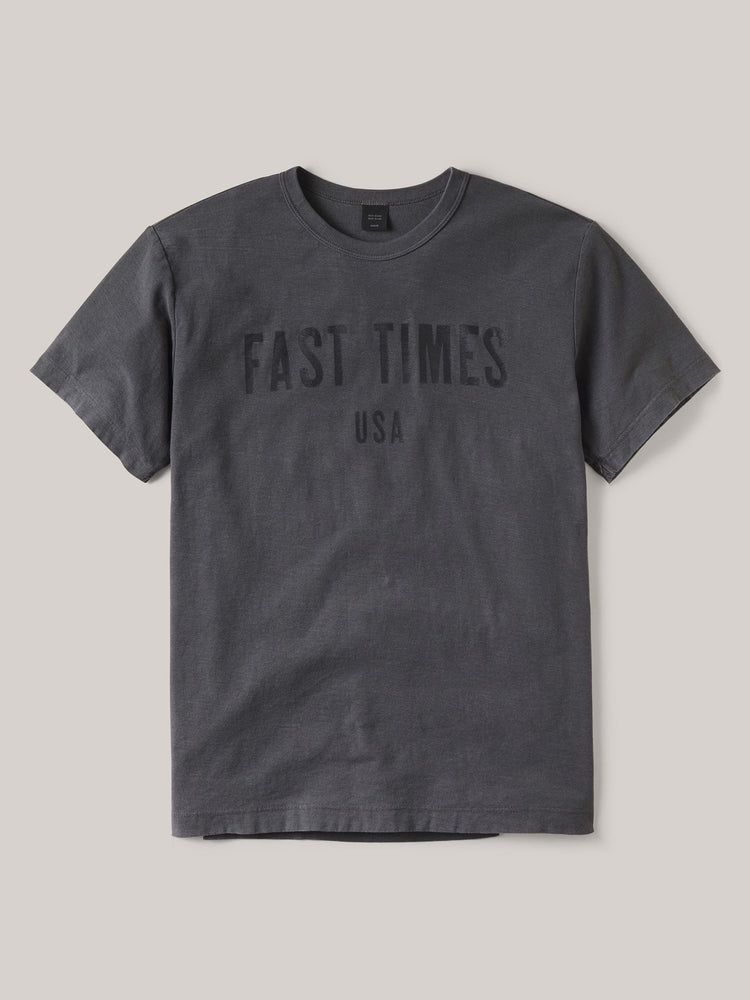 Faded Black Fast Times Loop Cotton Vintage Tee