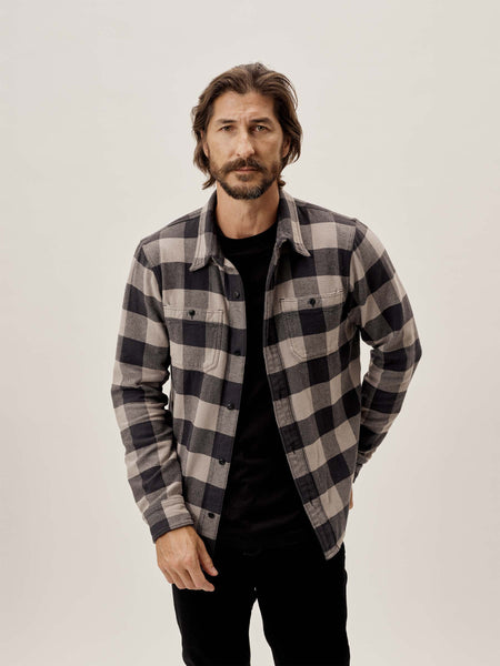 Buck Mason - Grey/Black Plaid Blanket Flannel Two Pocket Overshirt