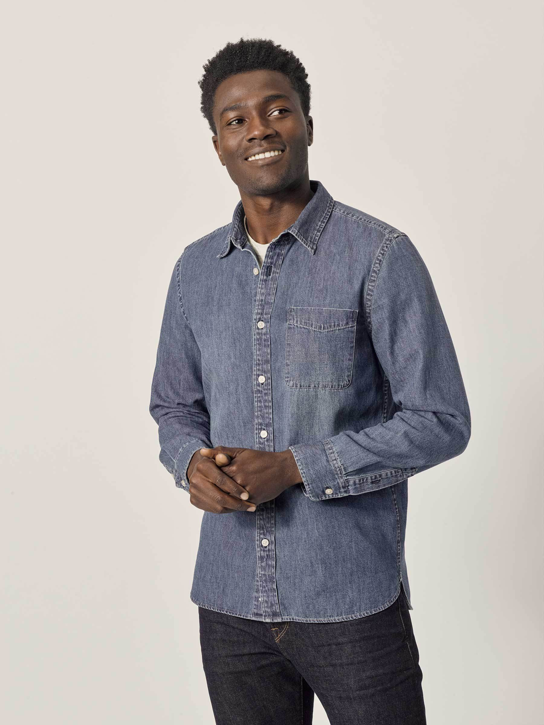 Buck Mason - M003 Medium Wash Denim Vintage One Pocket Shirt