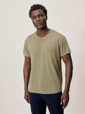 Military Olive Slub Classic Pocket Tee