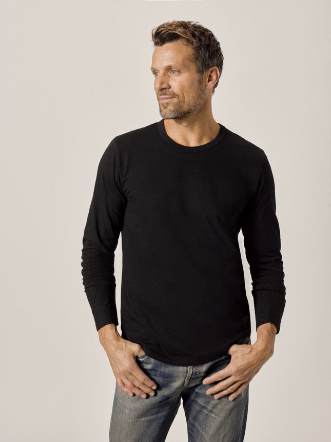 Black Long Sleeve Slub Curved Hem Tee