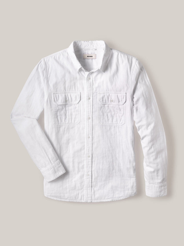 White Double Weave Vintage Two Pocket Shirt