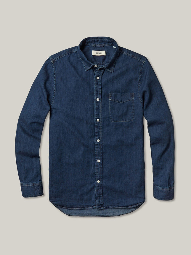 D003 Dark Wash Denim Vintage One Pocket Shirt