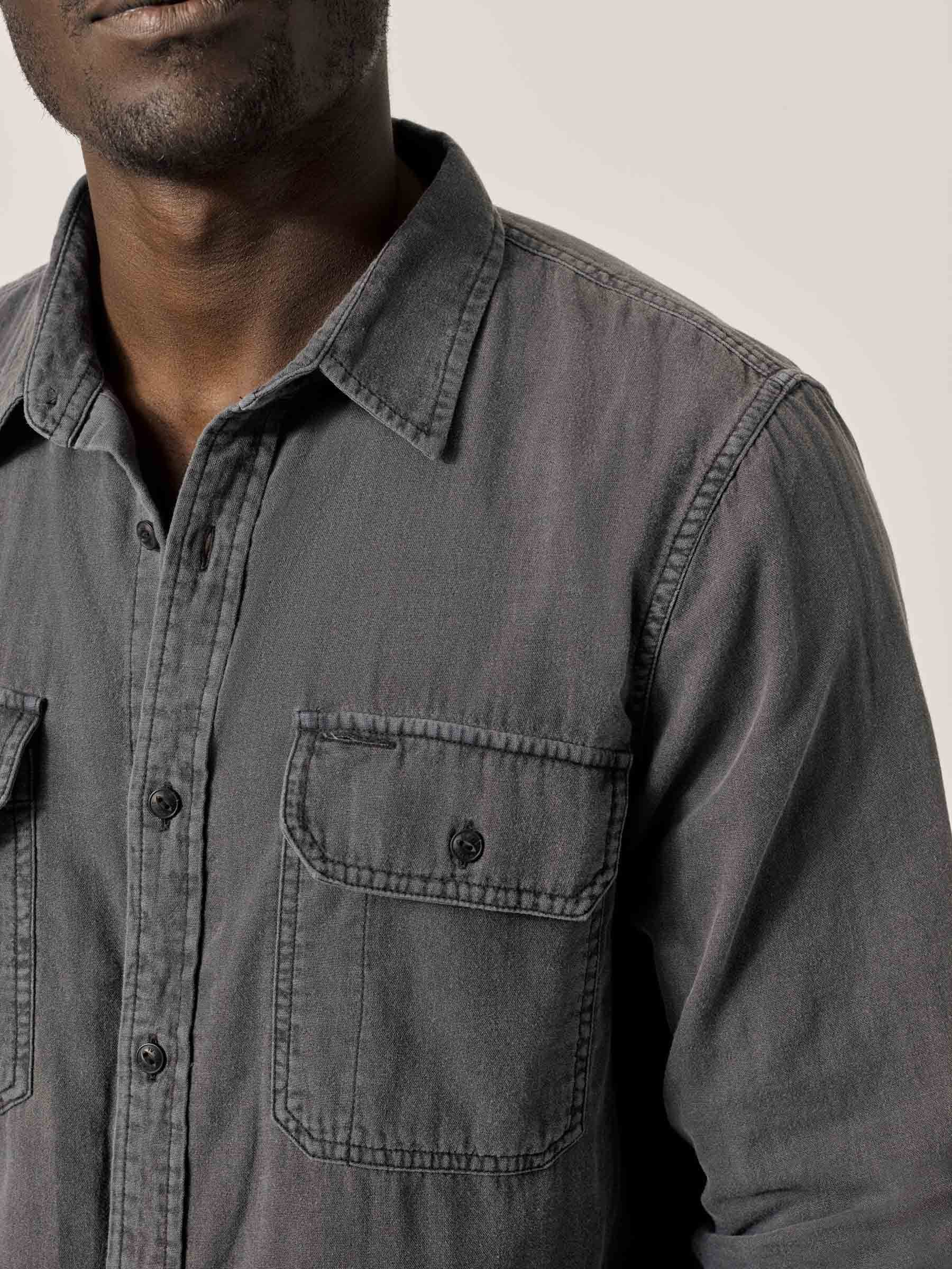 Buck Mason - Faded Charcoal Double Weave Vintage Two Pocket Shirt