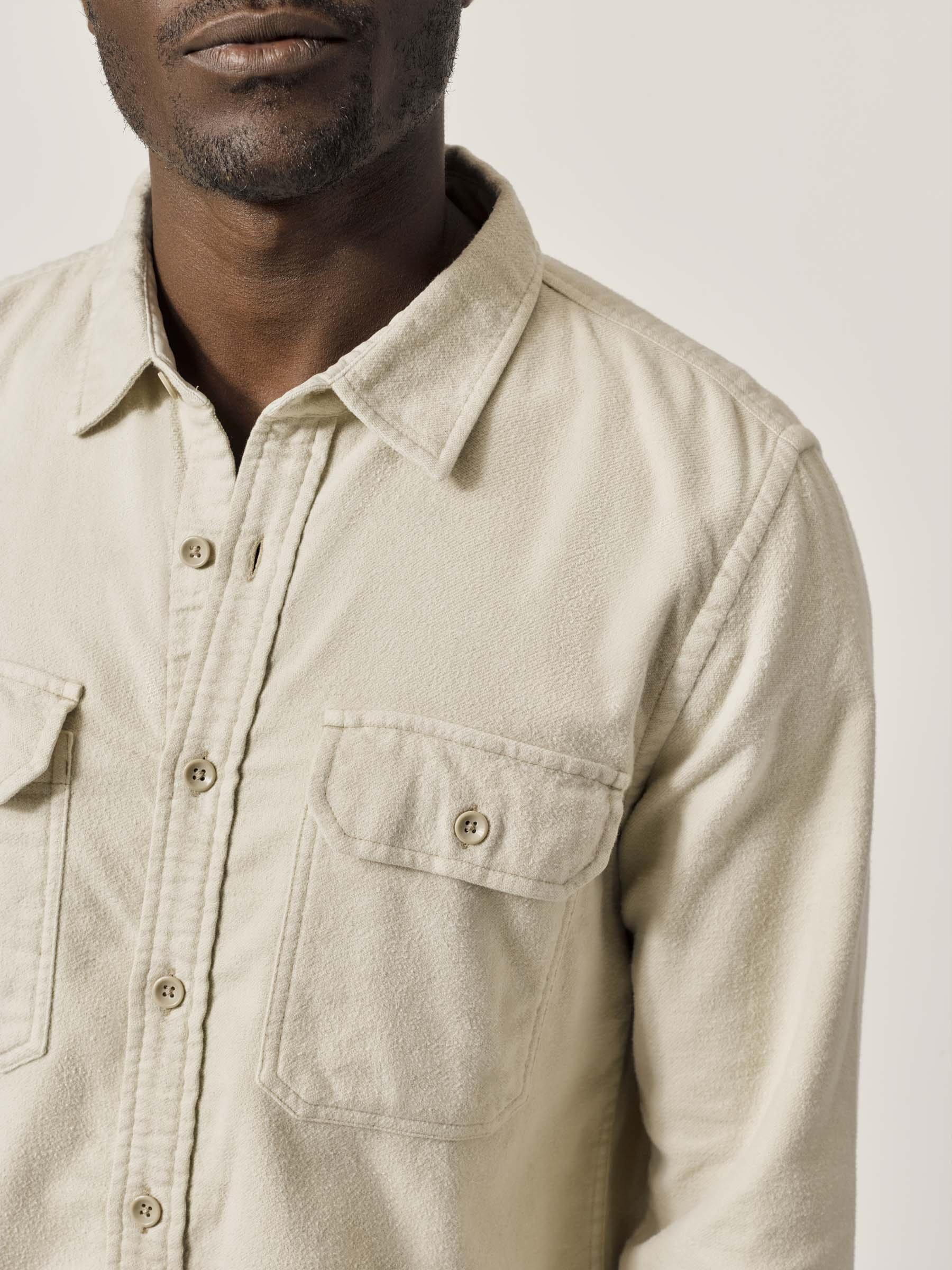 Buck Mason - Stone Brushed Flannel Two Pocket Shirt