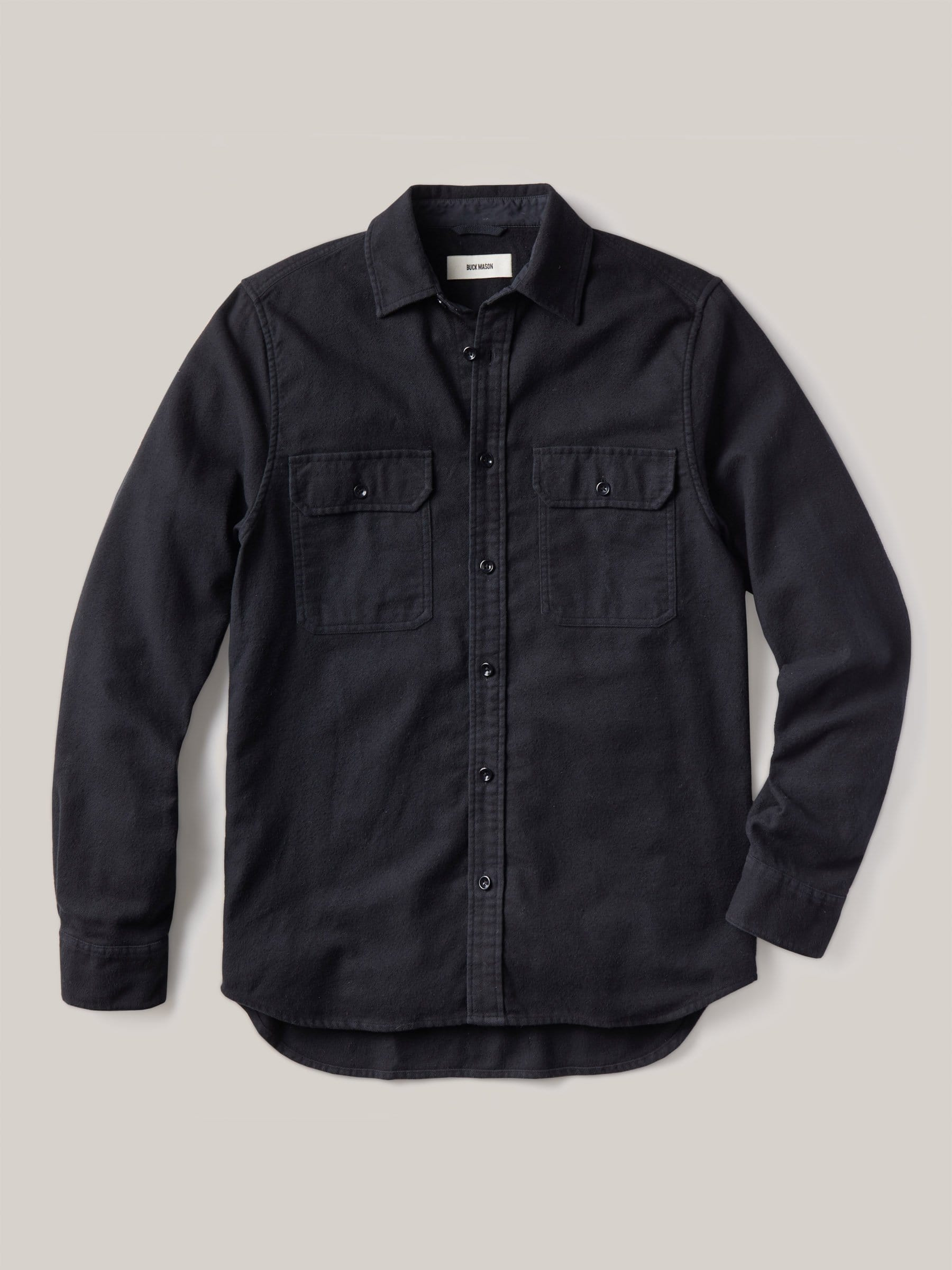 Buck Mason - Black Brushed Flannel Two Pocket Shirt