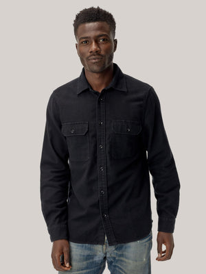 black Brushed Flannel Two Pocket Shirt