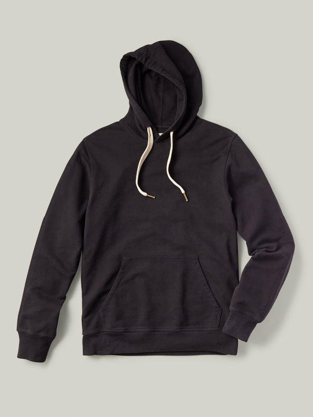 Black Brushed Loopback Hooded Sweatshirt