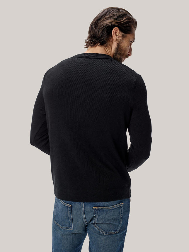 Buck Mason - Black Cotton Linen Traveler Crew Sweater