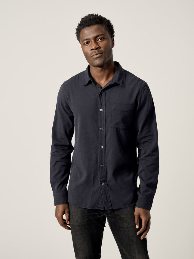 Black Draped Twill One Pocket Shirt