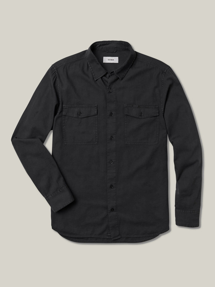 Black Draped Twill Two Pocket Shirt