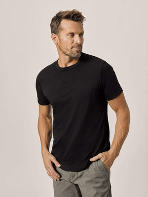 black Pima Tall Curved Hem Tee
