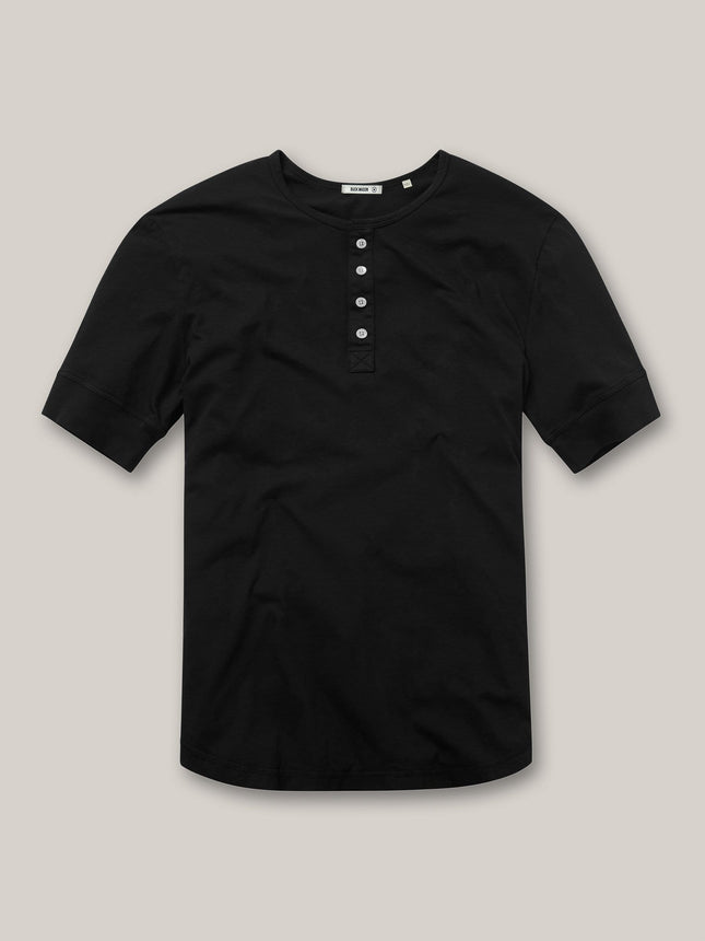 Black Pima Short Sleeve Curved Hem Henley