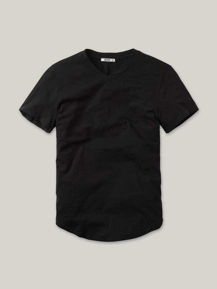 Black Slub Curved Hem V-Neck