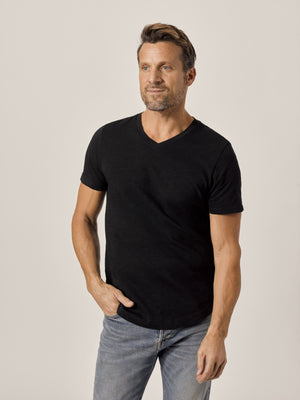black Slub Curved Hem V-Neck Tee
