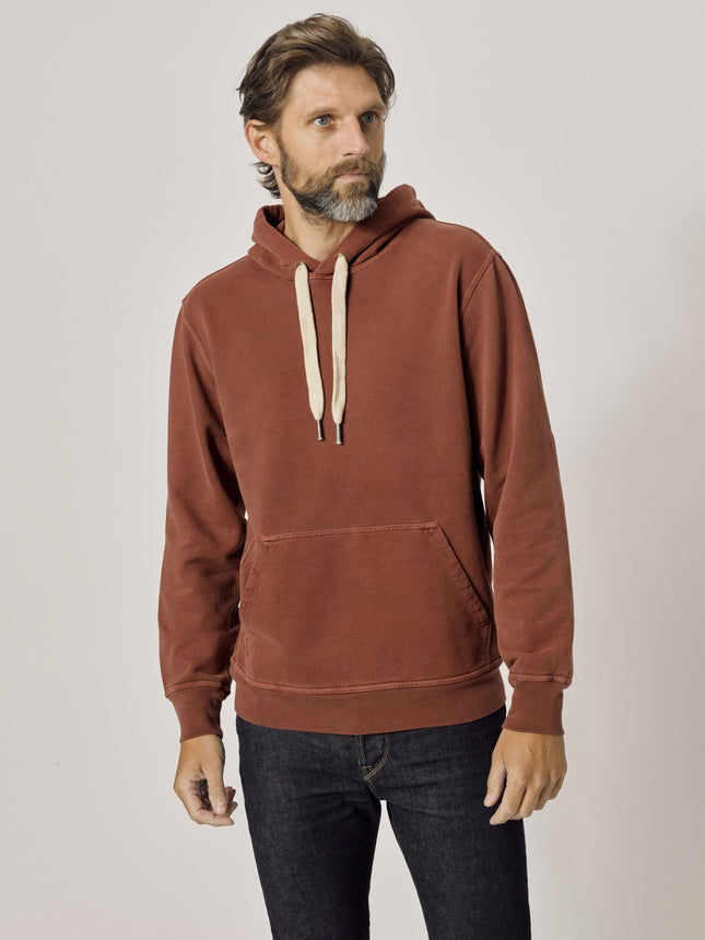 Brick Venice Wash Brushed Loopback Hooded Sweatshirt