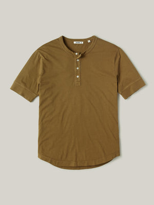 Bronze Venice Wash Pima Short Sleeve Curved Hem Henley