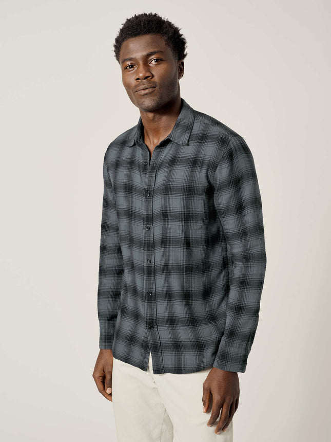Cadet Blue/Black High Desert Flannel Vintage One Pocket Shirt