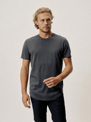 Carbon Venice Wash Pima Curved Hem Tee