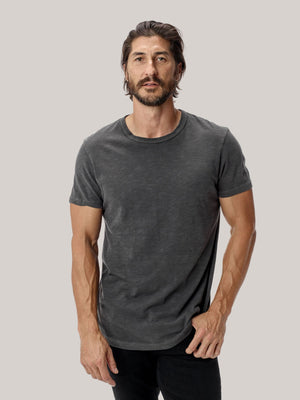 coal venice wash  Slub Curved Hem Tee