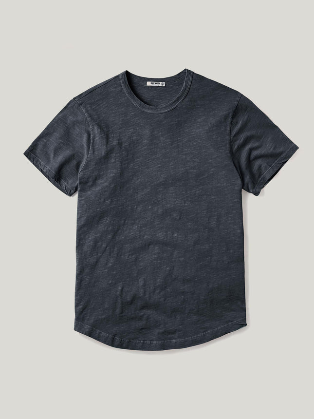 Dark Navy Venice Wash Slub Curved Hem Tee