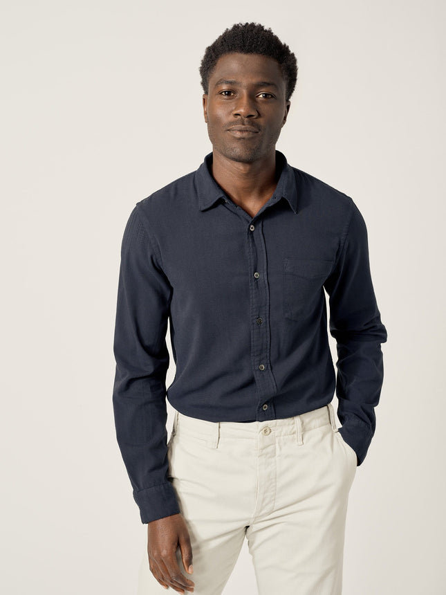 Dark Marine Draped Twill One Pocket Shirt
