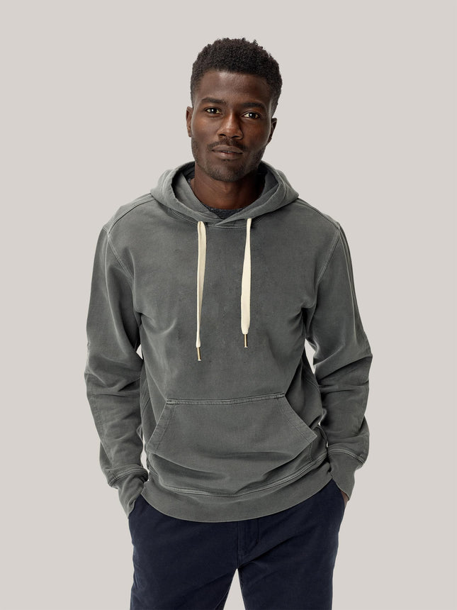 Faded Black Brushed Loopback Hooded Sweatshirt