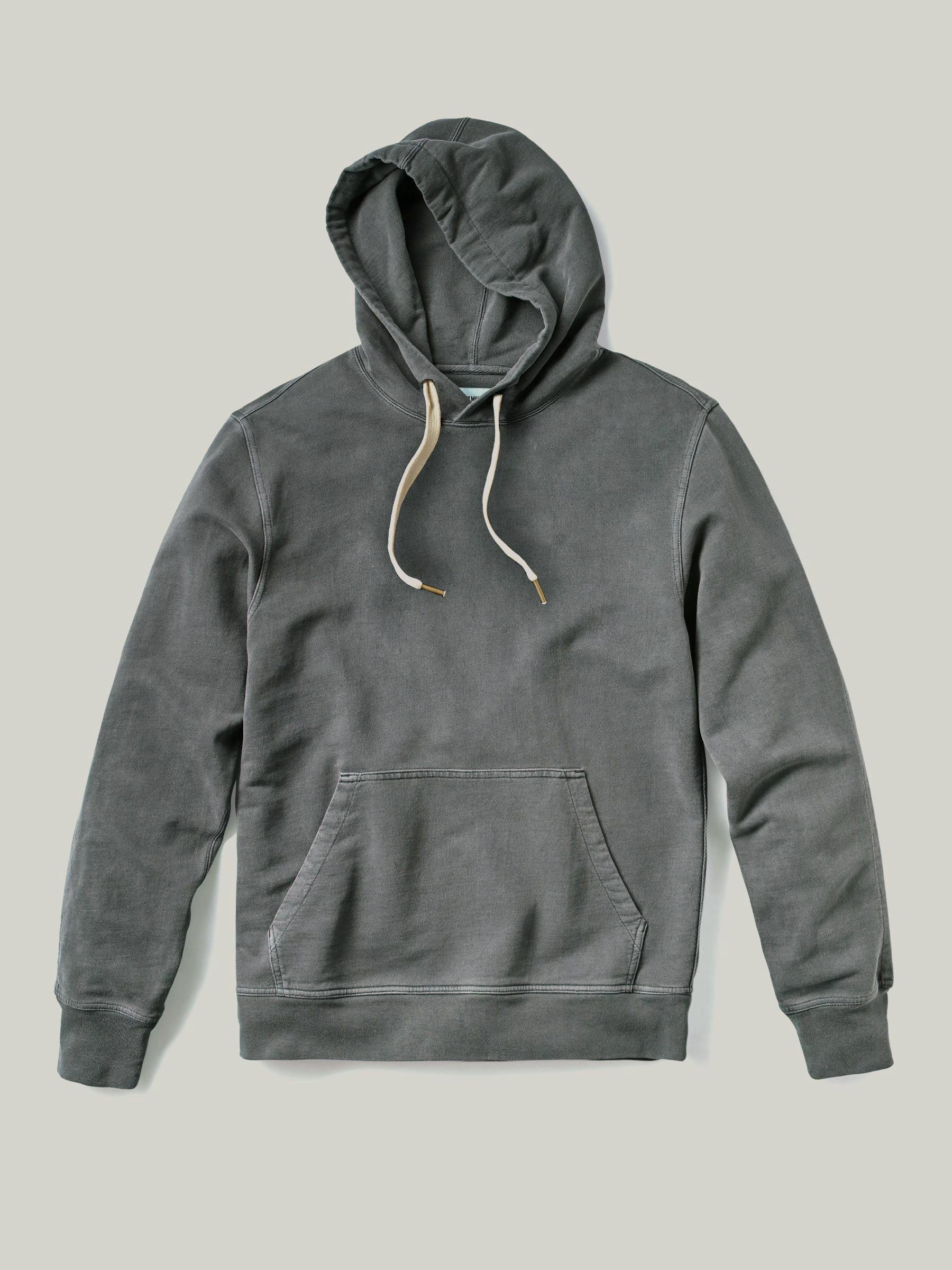 Buck Mason Faded Black Brushed Loopback Hooded Sweatshirt