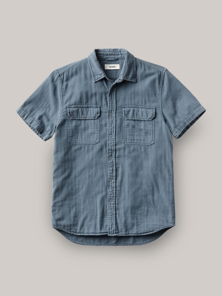 Faded Blue Double Weave  S/S Vintage Two Pocket Shirt