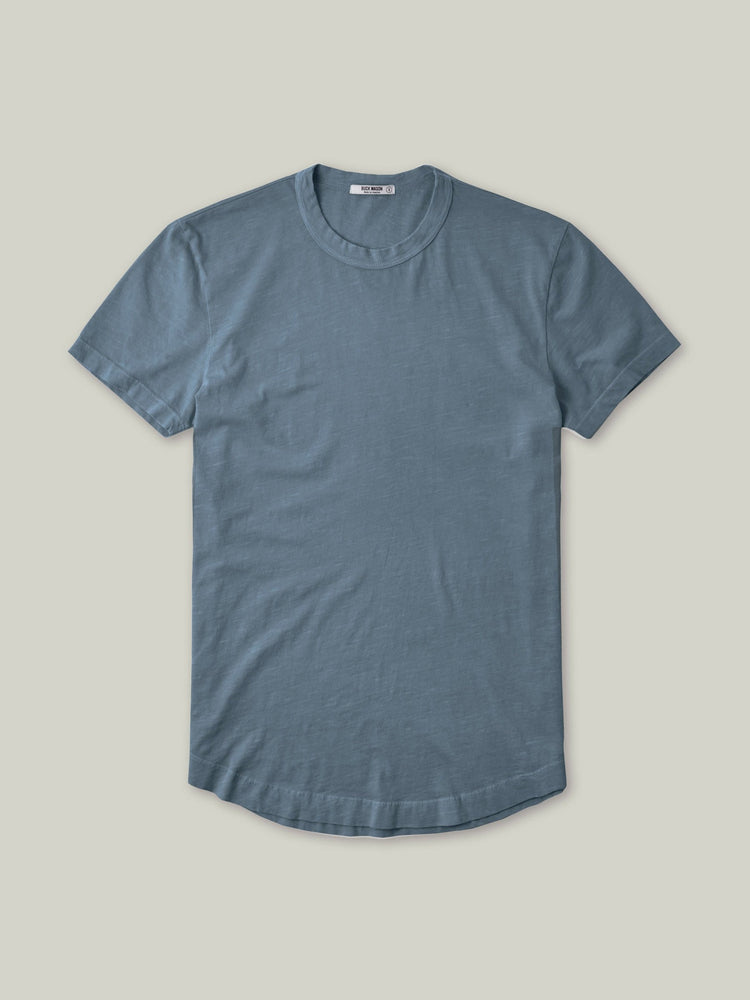Faded Blue Venice Wash  Slub Curved Hem Tee
