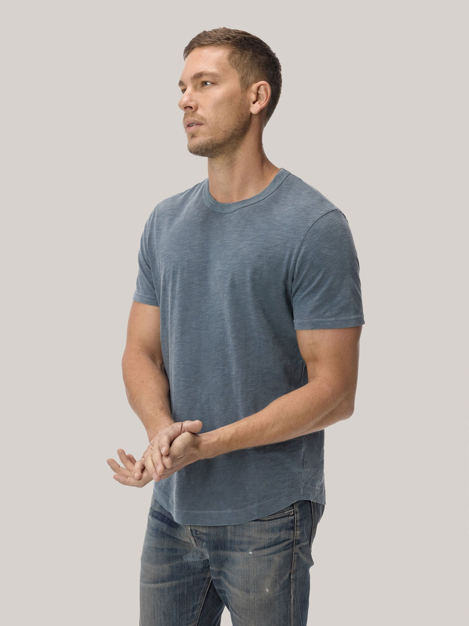 Buck Mason - Faded Blue Venice Wash  Slub Curved Hem Tee