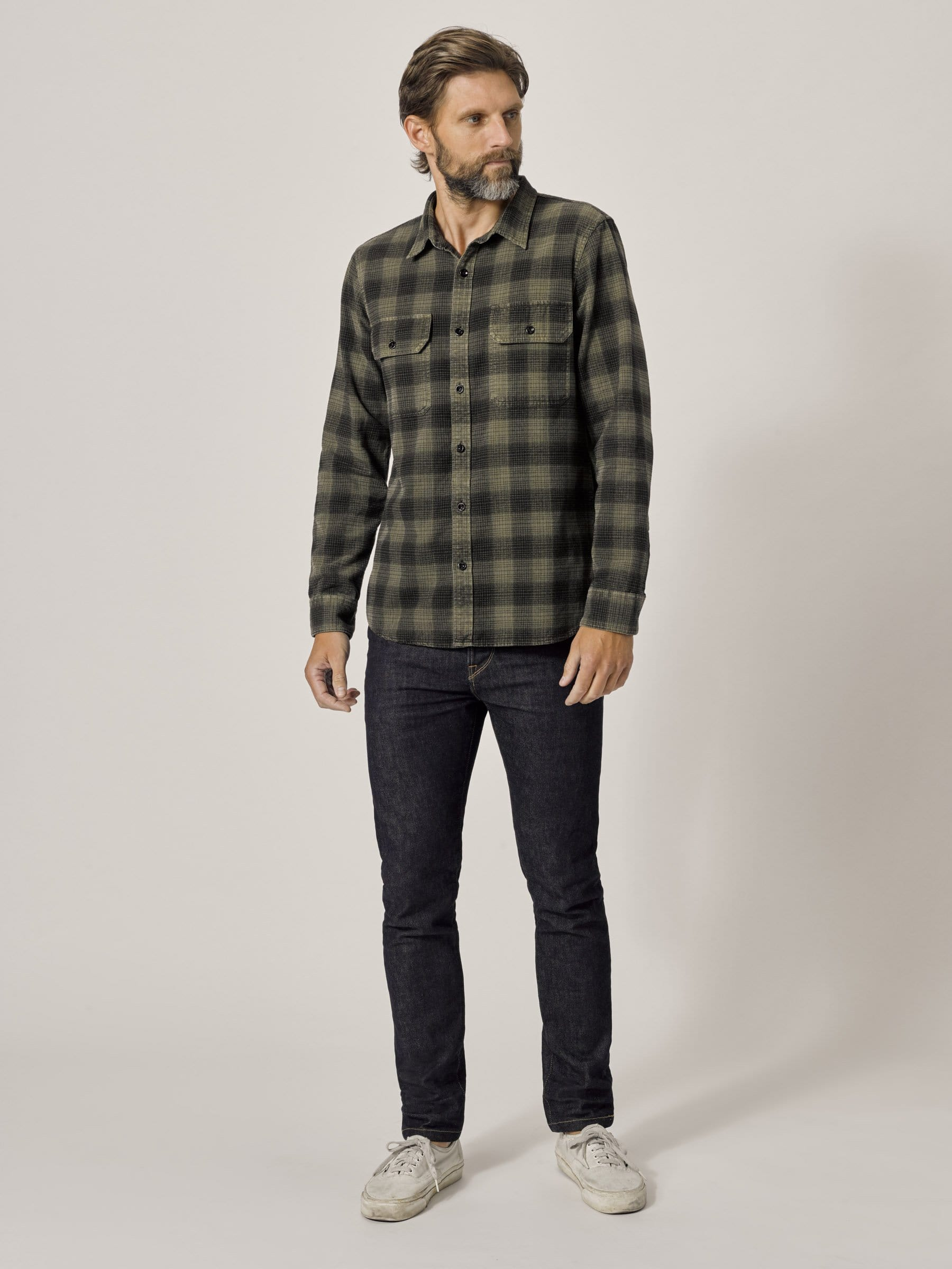 Buck Mason - Faded Hunter/Black Mill Flannel Two Pocket Shirt