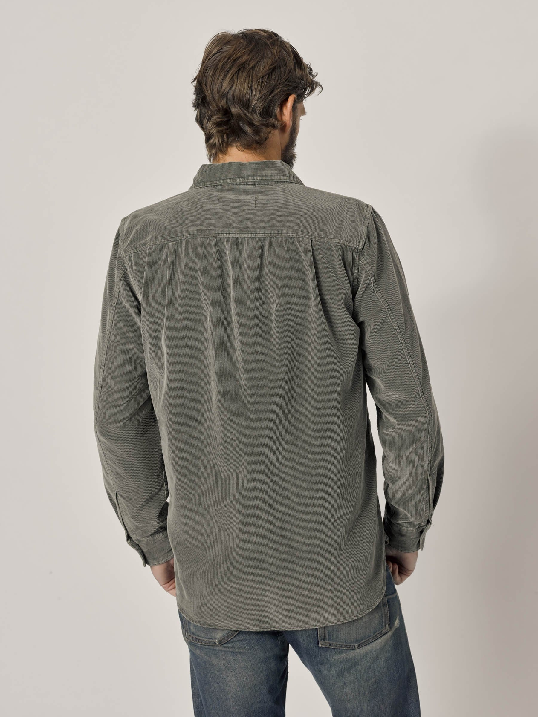 Buck Mason - Faded Olive Pincord One Pocket Work Shirt
