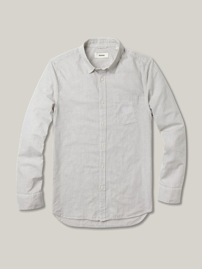 Grey Rinsed Fine Stripe One Pocket Shirt