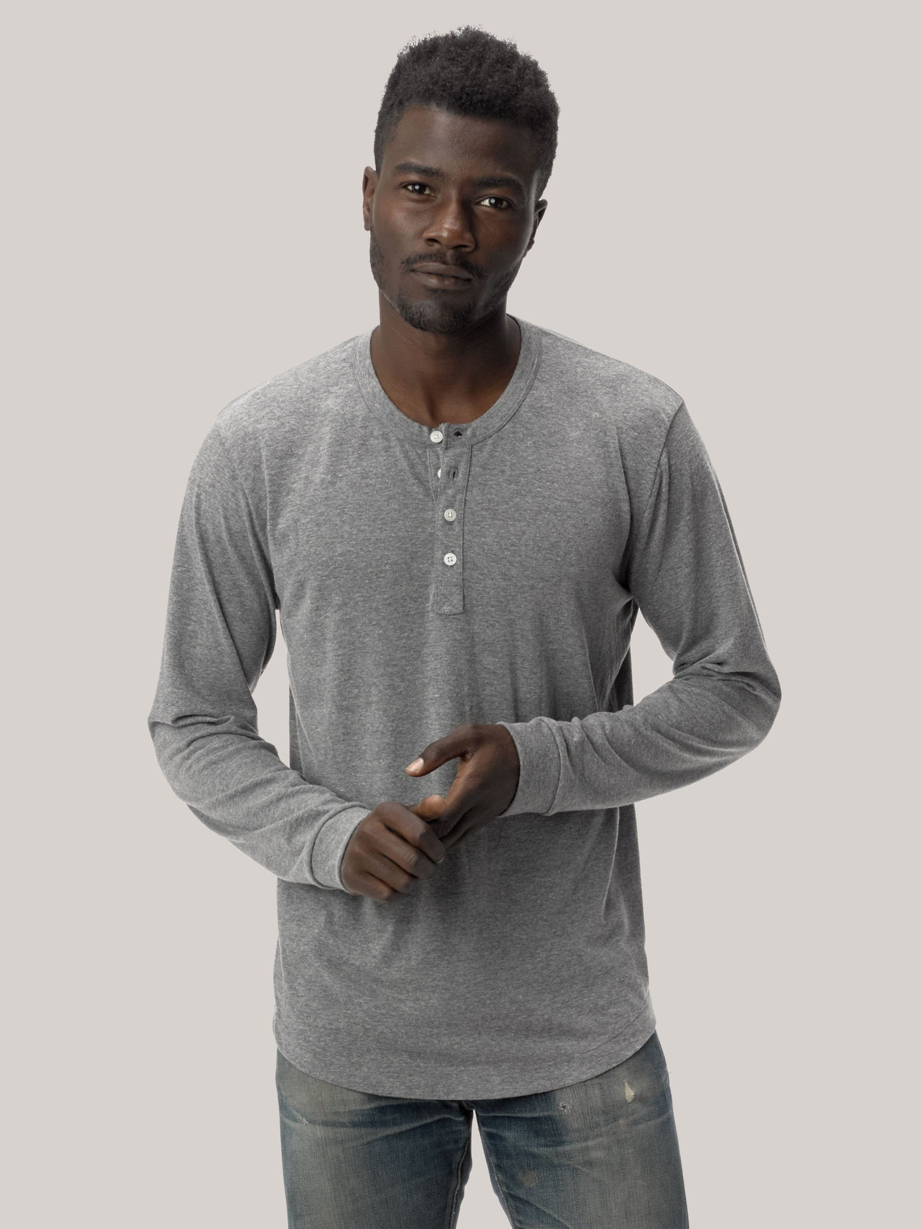 Buck Mason - Heather Grey Vintage Tri-Blend Henley