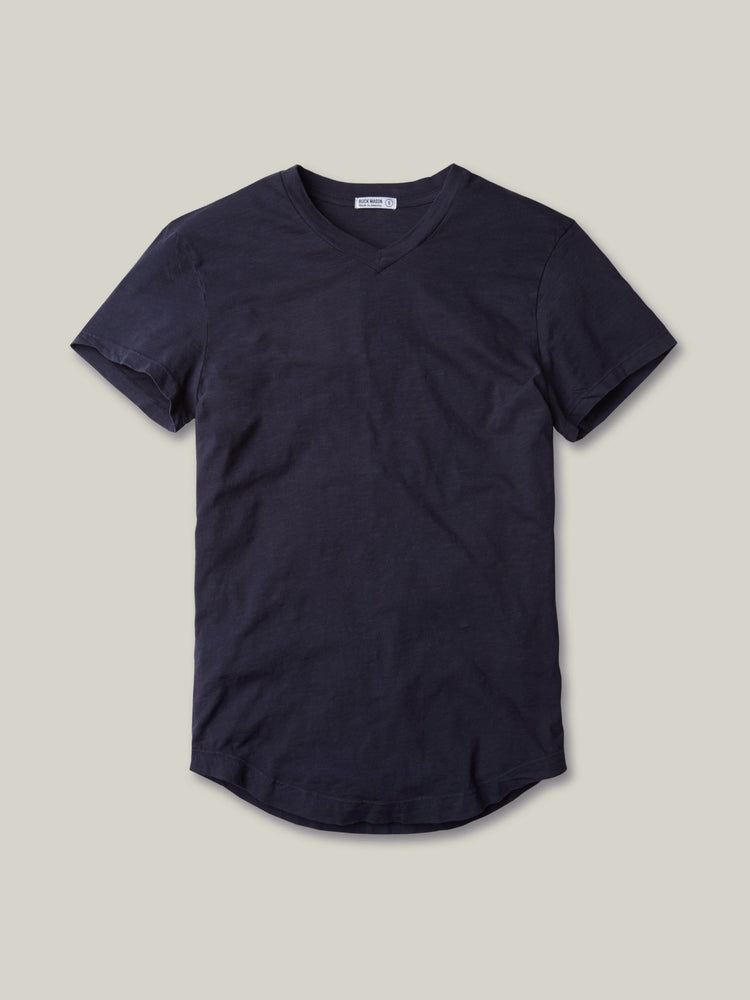 Midnight Slub Curved Hem V-Neck